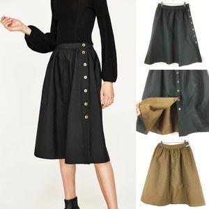 NWT Zara Reversible Button Skirt Black Brown Midi